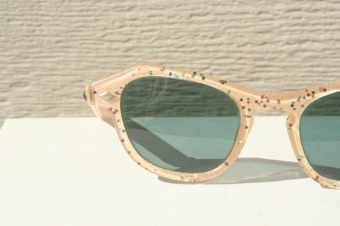 linen & rainbow glitter 1950s sunglasses from THAYEReyewear
